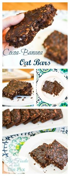 Cocoa-Banana Oat Bars - My kids favorite lunchbox treat recipe is SO quick and easy to make. Great as a snack, a dessert or even breakfast, plus it's 21 Day Fix approved!