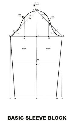 This video is a step by step tutorial showing how to make basic sleeve block pattern for women's garments. For This basic sleeve block the meassurments are: Sleeve Length : 65 cm Front Armhole : mark by X Back Armhole : mark by Y (the . Pattern Drafting Tutorials, Sewing Tutorials, Techniques Couture, Sewing Techniques, Dress Sewing Patterns, Clothing Patterns, Sewing Sleeves, Sewing Blouses, Sewing Lessons