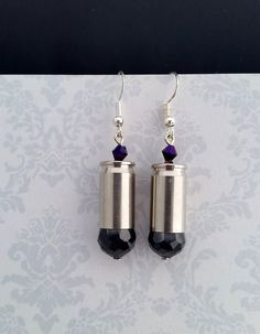 Graphite Gray Bullet Earrings Bullet Earrings by blazingembers