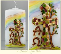 Osterkerze mit Regenbogenmotiv  DW 384 von  Kerzenkunst -  Kreatiwita auf DaWanda.com