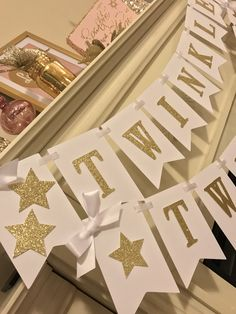 Excited to share this item from my #etsy shop: Twinkle Twinkle Little Star Baby Shower, Gold and White, Birthday, Glitter Banner, Baby Shower Banner,Decorations, backdrop