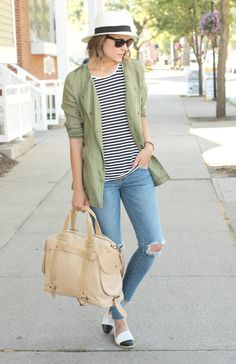 Breton top, khaki shirt, skinnies and two-tone espadrilles
