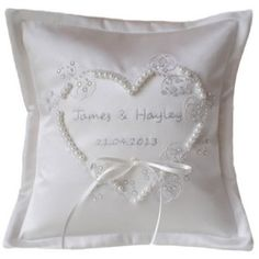 #Personalised #White Applique #Heart Embroidered #Wedding Ring Cushion. www.ayedo.co.uk