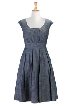 Denim Chambray Dress, Pleated Skirts & Dresses For Plus Size Shop womens fashion clothes | Dresses | Maxi dresses, party dresses, casual dresses | eShakti.com