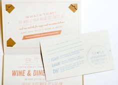 Silhouette and Chevron Stripe Wedding Invitations by Lilly and Louise via Oh So Beautiful Paper (9)