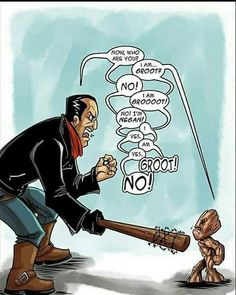 Negan and Baby Groot The Walking Dead x Marvel Walking Dead Funny, Fear The Walking Dead, Walking Dead Zombies, The Walking Dead Tumblr, Walking Dead Quotes, Twd Memes, Z Nation, Stuff And Thangs, Guardians Of The Galaxy