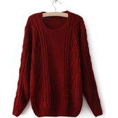 Women's Relaxed Long Sleeved Cable Knit Plus Size Sweaters