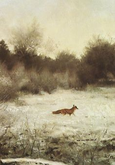 """Fox in a Winter Field"" by Rien Poortvliet, Dutch artist known for his drawings of animals, 1932-1995"