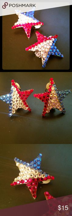 Vintage Rhinestone Star Clip On Earrings Vintage statement rhinestone clip on earrings in the shape of a star Very patriotic!  Red white blue rhinestones  Silver tone see all pics for details Vintage Jewelry Earrings