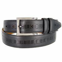 """Lejon Belt Bayside Full Grain Waxy Glove Leather Dress Belt 1-3/8"""" Wide Black"""