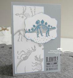 Sarah-Jane Rae cardsandacuppa: Stampin' Up! UK Order Online 24/7: Using Stampin' Up's No Bones About It to make a grey and blue Dinosaur Card