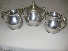$32.99 Hartford Silver Co Creamer Sugar Bowl Waste Bowl by NANCYSANTIQUES