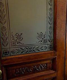 etches glass patterns panels - Google Search Antique Door Hardware, Antique Doors, Glass Etching Designs, Etched Glass Door, Victorian Door, Kitchen Doors, Architectural Features, Window Coverings, Door Design