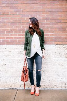 Kendi Everyday | Basically.  White blouse with green jacket and cognac flats