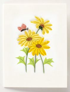 "Quilled yellow daisies with butterfly gift enclosure - 2.5"" x 3.5"""