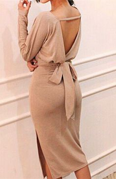 Sexy Plunging Neck Solid Color Backless Furcal Long Sleeve Women's Dress