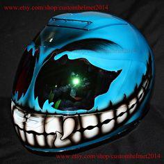 Custom helmet, Custom motorcycle helmet, Superbike helmet, Bike helmet, Carting helmet, Crash Helmet, Airbrush painted Blue Smiley CH04
