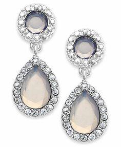 Charter Club Silver-Tone Blue Crystal Drop Earrings
