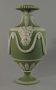 Wedgwood sage green jasperware urn, century, moulded with twin face handles, with classical medallions to the body, Wedgewood China, Wedgwood Pottery, Art Decor, Decoration, Urn Vase, Glazes For Pottery, Glass Ceramic, Objet D'art, China Porcelain