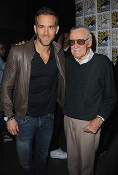 Ryan Reynolds and Stan Lee attend the Century FOX panel during Comic-Con International 2015 at the San Diego Convention Center Marvel Heroes, Marvel Avengers, Stan Lee Cameo, Ryan Reynolds Deadpool, Frank Miller Comics, Man Lee, Hollywood, Hugh Jackman, Marvel Movies