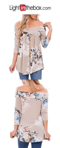 4376fe09cca Women s Going out Boho Cotton Loose Blouse - Floral Print Off Shoulder    Sexy