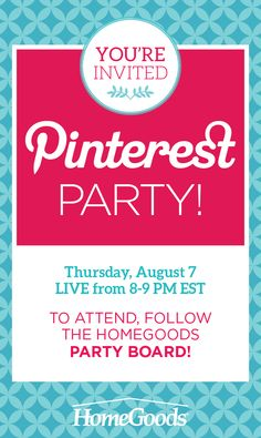 Follow @HomeGoods to join the pin party on Thursday from 8pm-9pm est! Learn budget-friendly #DIY ideas, #entertaining tips and #organization tricks!  Hosted by 3 of our experts: @nyclq , @dearlillie & @DIYPlaybook !
