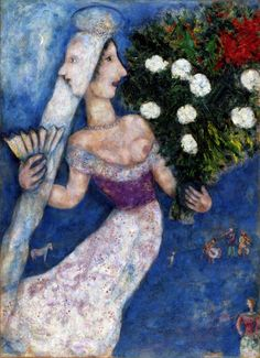From Dallas Museum of Art, Marc Chagall, The Bride with Two Faces (La mariée à double face) Oil on canvas transposed, relined, 99 × 73 in Marc Chagall, Artist Chagall, Chagall Paintings, Pablo Picasso, Folklore Russe, Monet, Chaim Soutine, Art Ancien, Fauvism