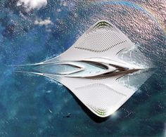 French architect Jacques Rougerie has envisioned a giant floating city which bears a striking resemblance to a manta ray, named City of Mériens. It would be 100% self sustainable