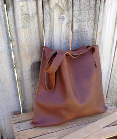 Large Heavy Duty Rustic  Chestnut Brown Leather by RusticMoon13