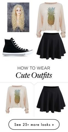 """""""Cute outfit for going out with friends"""" by applemeowkitty on Polyvore featuring Wildfox, WithChic and Converse"""