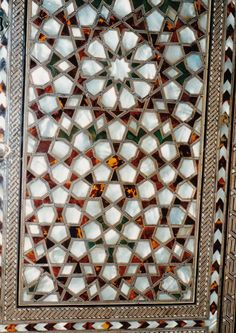 Ottoman inlaid mother of pearl artwork in the Harem at Topkapi Palace Museum, Istanbul Turkey