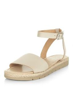 Cream Leather Ankle Strap Espadrille Sandals  | New Look