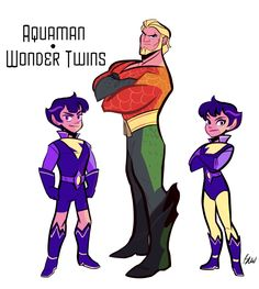 Aquaman and wonder twins Character Drawing, Comic Character, Character Design, Wonder Twins, Dc Comics Characters, Superman Characters, Superhero Design, Dc Movies, Young Justice