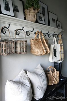how to fake a mudroom, need a mudroom but only have a hallway? this mudroom solution is perfect with a bench, coat hooks on crown molding, and a gallery wall shelf. Perfect example of how to fake a mudroom. Floating Shelves Diy, Floating Stairs, Dining Room Floating Shelves, Home Living, Living Room, Mudroom, Home Organization, Home Projects, Sweet Home