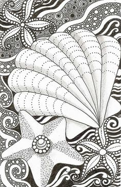 Free Ocean colouring page. Zentangle.