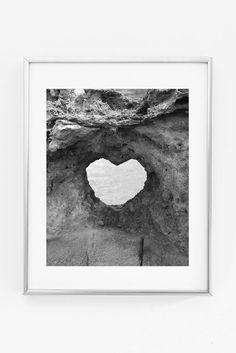 Heart Rock on Maui Hawaii Black & White Photography Printable Print