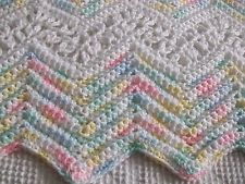 SCRUMPTIOUS LACY RIPPLE HAND CROCHETED BABY AFGHAN