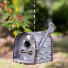 Rustic Look Mailbox Hanging Birdhouse and Yard Decoration with Chain Vintage Mailbox, Metal Mailbox, Mailbox Planter, Mailbox Garden, Vintage Farm, Garden Table, Bird House Feeder, Bird Feeders, Rustic Mailboxes
