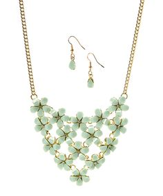 Loving this Goldtone Floral Bib Necklace & Drop Earrings on #zulily! #zulilyfinds