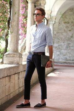 シャツ,クロップドパンツ,エスパドリーユメンズ夏靴コーデ