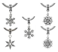 """ 5 Christmas Snowflake Charm Dangles "" Antique`d Silver Bead Charm Pandora Troll Chamilia Kay Compatible"