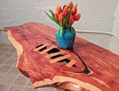 Detail of live-edge cedar slab coffee table. www.josephlazzari.com