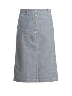 A.P.C. Love button-up striped denim skirt