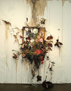 "Valerie Hegarty.   Flower Frenzy  2012  Canvas, stretcher, acrylic paint, paper, glue, foil, glue, wire, artificial foliage and flowers, sand, thread  60"" (w) x 91"" (h) x 20"" (d)  Nicelle Beauchene Gallery, NYC  Figure, Flowers, Fruit  September 9 - October 21, 2012"