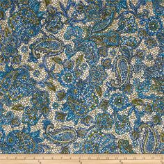 Byzantium Blue/Celedon from @fabricdotcom  Designed by Dover Hill for Benartex, this cotton print fabric is perfect for quilting, apparel and home decor accents. Colors include blue, teal,olive and cream.