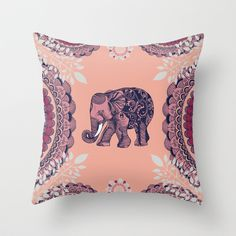 Bohemian Elephant  Throw Pillow by Rskinner1122 - $20.00