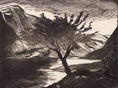 Graadt van Roggen, Johannes Mattheus: Gudvangen, fjord (1926); houtsnede