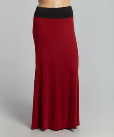 Another great find on #zulily! Burgundy & Black Color Block Maxi Skirt - Plus #zulilyfinds