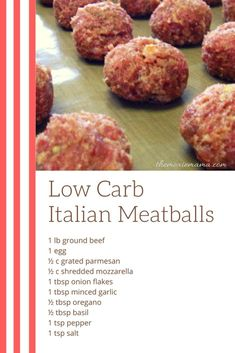 Ingredients Baked Low Carb Italian Meatballs