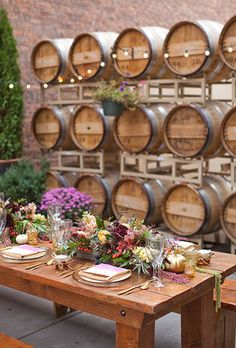 Fall-Inspired Wedding Table: Rustic Tablescape with Multicolor Flroal Centerpieces with Gold China   Brides.com